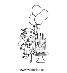 grunge girl child with balloons and sweet cake
