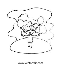 grunge girl child with hairstyle and balloons in the landscape