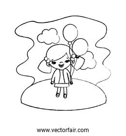 grunge girl child with funny balloons in the landscape