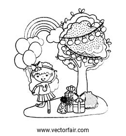 grunge girls children next to tree with presents and balloons