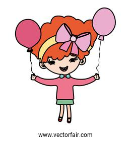 color nice girl child with hair and balloons