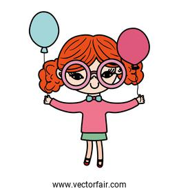 color nice girl child with glasses and balloons