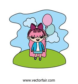 color nice girl child with balloons in the landscape