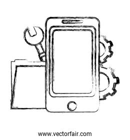 grunge smartphone with folder file and industry equipment