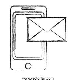 grunge smartphone technology with electronic e-mail message