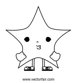 line kawaii cute star with arms and legs