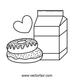 line milk box with sweet donuts and heart