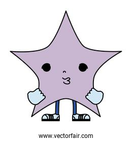 color kawaii cute star with arms and legs