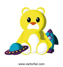 teddy bear with rocket and ufo toys