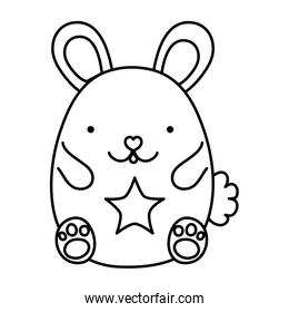 line cute mouse animal with star design