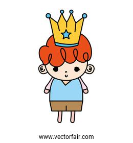 color nice boy child with metal crown