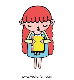 color nice girl child with education book