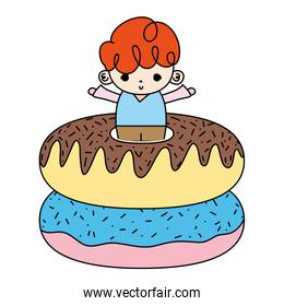 color nice boy child with sweet donuts