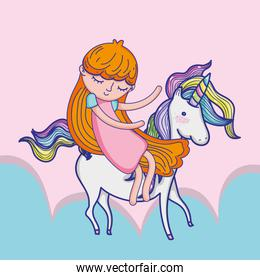 Girl with unicorn cute cartoon