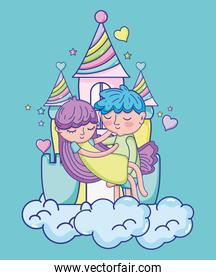 Boy and girl in love cartoons