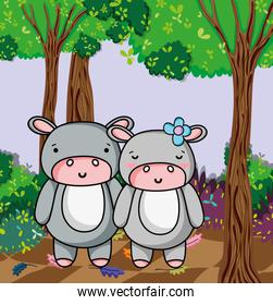 Cute hippos cartoons
