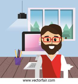 Worker at home office