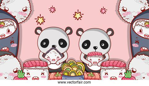 Kawaii animals and japanese food