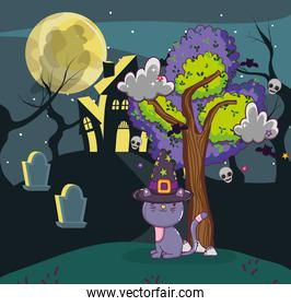 Halloween cat and haunted house