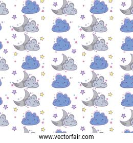 Cloud and moon background cartoon