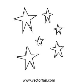 Stars colorful cartoons in black and white