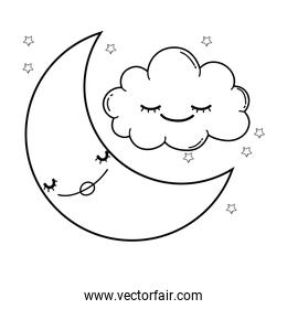 Clouds and moon cute cartoons in black and white