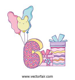 Birthday gift boxes with balloons and number