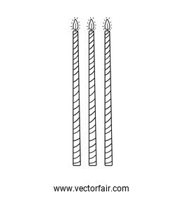 Birthday candles cartoon in black and white