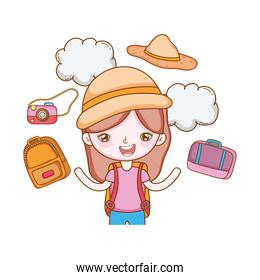 traveler with travel elements