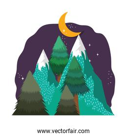 landscape with snow mountain in the night