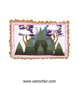 landscape with snow mountain square frame
