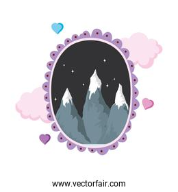 landscape with snow mountain circular frame on night
