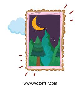 landscape with snow mountain square frame on night