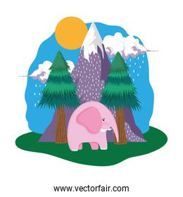 cute elephant pink in the landscape