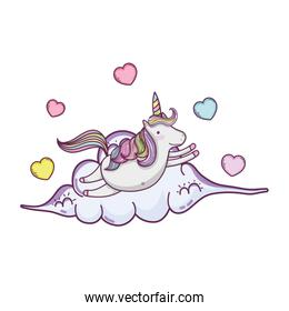cute fairytale unicorn with hearts in cloud
