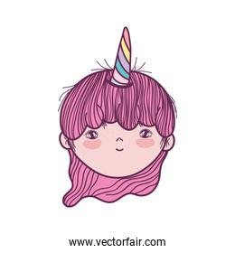 cute little fairy with unicorn horns character