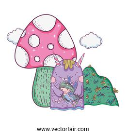little fairy with monster and fungus