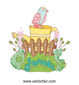 beautiful bird with sprinkler and fence garden