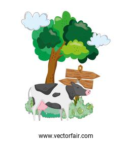 garden with wooden arrow signal and cow