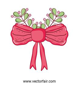 red bow ribbon tape with leafs