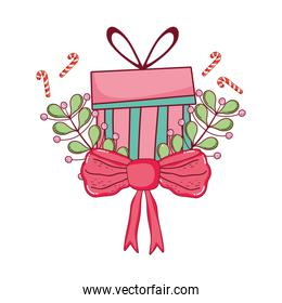 christmas gift box with wreath and ribbon