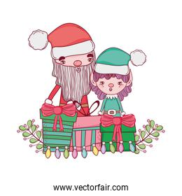 cute christmas santa claus with gifts presents