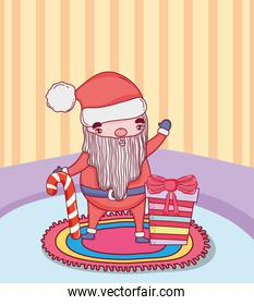 christmas santa claus with cane in the house