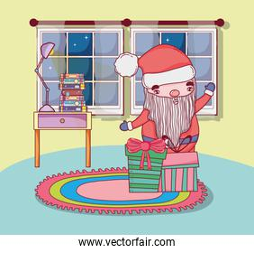 cute christmas santa claus with gifts in the house