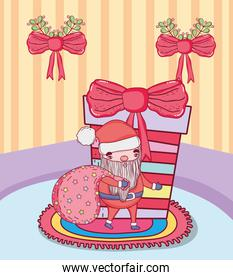 cute christmas santa claus with bag in the house