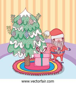 santa claus with pine tree in the house