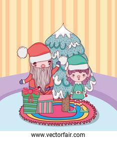 christmas santa claus with helper in the house