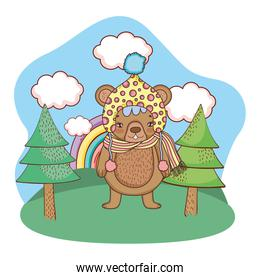 cute little bear with hat in the camp