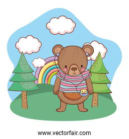cute little bear with shirt and walkman in the camp