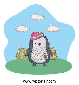 penguin with female hat and walkman in the camp
